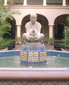 Woman with jug fountain